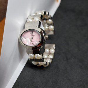 Louis Arden Paris Faux Pearl Watch Silver Tone